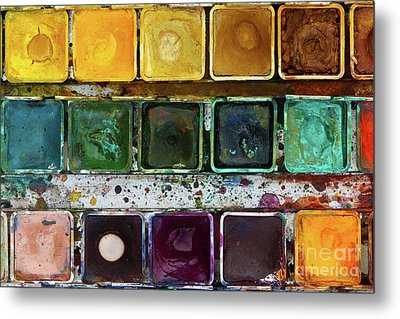 Various Watercolor Pigments In The Color-saucer Metal Print