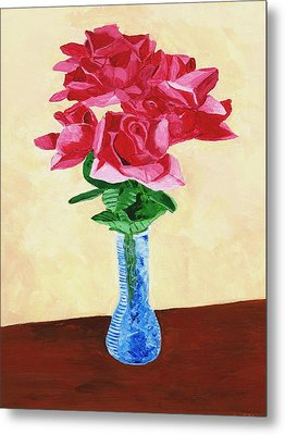 Metal Print featuring the painting Vase Of Red Roses by Rodney Campbell