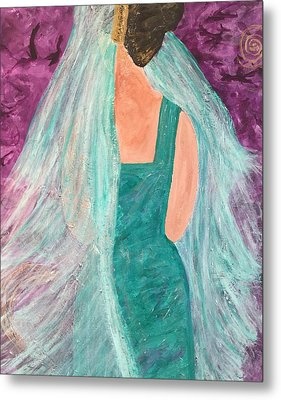 Veiled In Teal Metal Print by Annette McElhiney