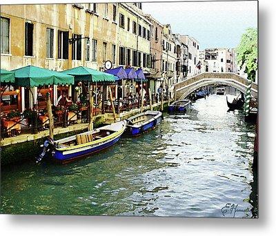 Venetian Cafes Metal Print by Ellen Henneke