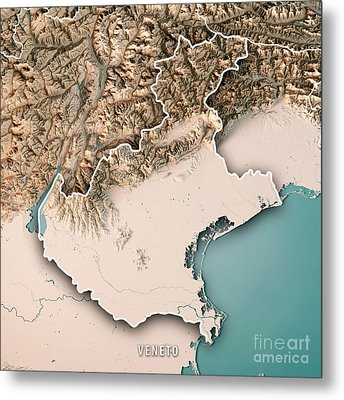 Veneto State Italy 3d Render Topographic Map Neutral Border Metal Print
