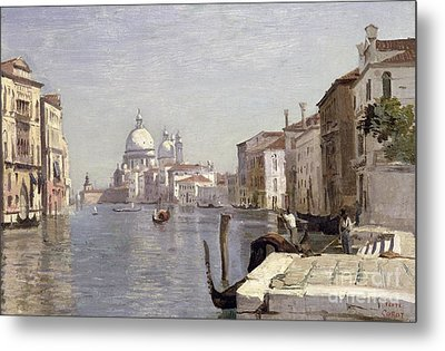 Venice - View Of Campo Della Carita Looking Towards The Dome Of The Salute Metal Print by Jean Baptiste Camille Corot