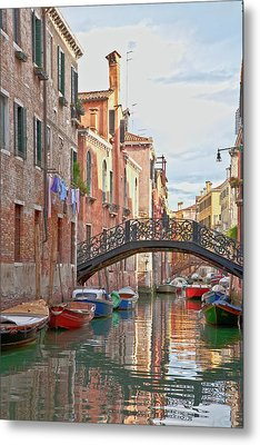 Venice Bridge Crossing 5 Metal Print by Heiko Koehrer-Wagner