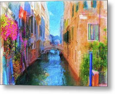 Venice Canal Painting Metal Print