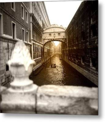 Metal Print featuring the photograph Venice Canal With Sunlight by Emanuel Tanjala