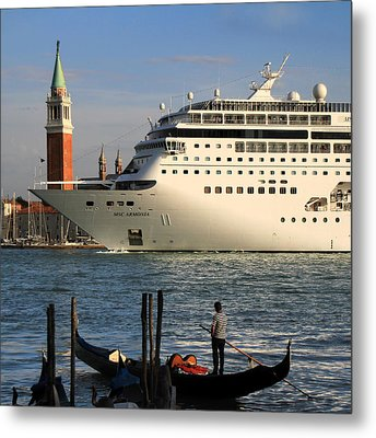 Venice Cruise Ship 2 Metal Print by Andrew Fare