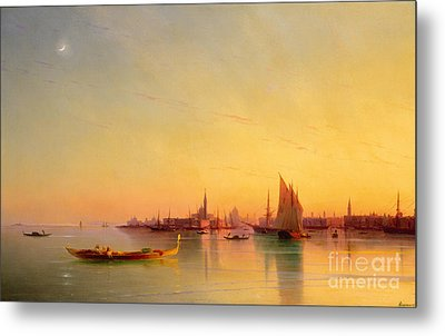Venice From The Lagoon At Sunset Metal Print by Ivan Konstantinovich Aivazovsky