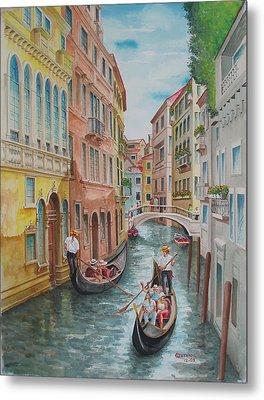 Venice Waterway  Italy Metal Print by Charles Hetenyi