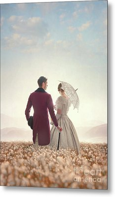 Victorian Couple Standing In A Meadow Metal Print by Lee Avison