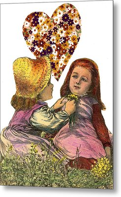 Victorian Girls Buttercup Game Metal Print by Marcia Masino