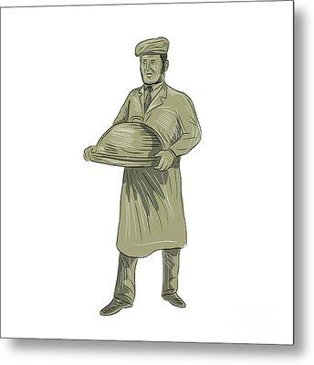 Victorian Waiter Serving Food Platter Drawing Metal Print by Aloysius Patrimonio