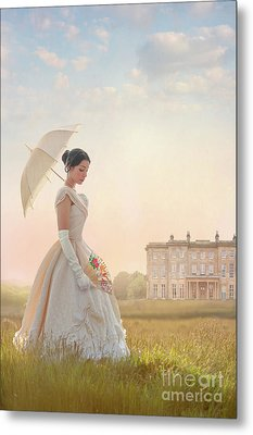 Victorian Woman With Parasol And Fan Metal Print by Lee Avison