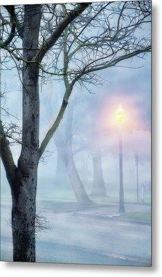 Victory Park In Fog Metal Print