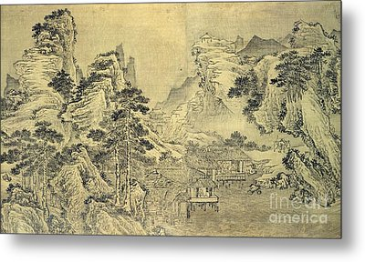 View From The Keyin Pavilion On Paradise - Baojie Mountain Metal Print by Wang Wen