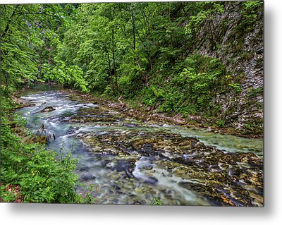 Metal Print featuring the photograph View In Vintgar Gorge - Slovenia by Stuart Litoff