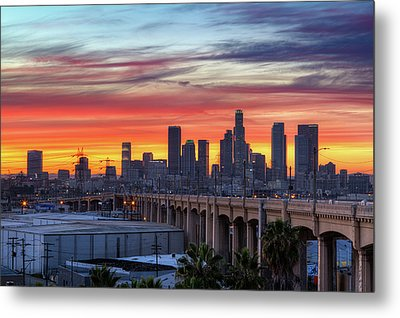 View Of Bridge At Dusk Metal Print by Shabdro Photo