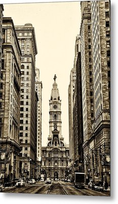 View Of Cityhall From Broad Street In Philadelphia Metal Print by Bill Cannon