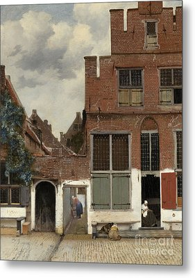 View Of Houses In Delft, Known As The Little Street Metal Print by Jan Vermeer