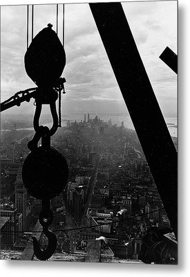 View Of Lower Manhattan From The Empire State Building Metal Print by LW Hine
