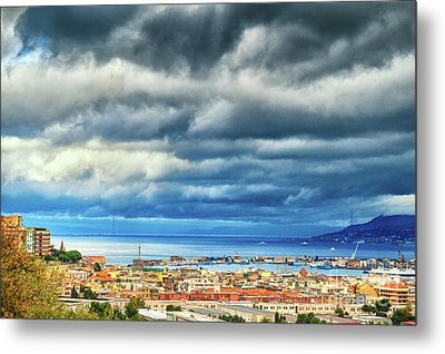 Metal Print featuring the photograph View Of Messina Strait Sicily With Dramatic Sky by Silvia Ganora