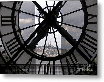 View Of Montmartre Through The Clock At Museum Orsay.paris Metal Print by Bernard Jaubert