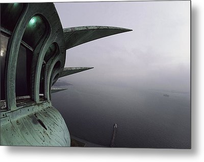 View Of New York Harbor From The Top Metal Print by Paul Chesley