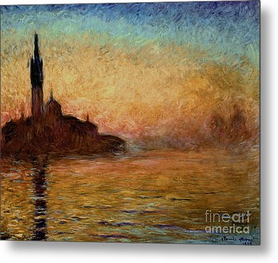 View Of San Giorgio Maggiore Venice By Twilight Metal Print by Claude Monet