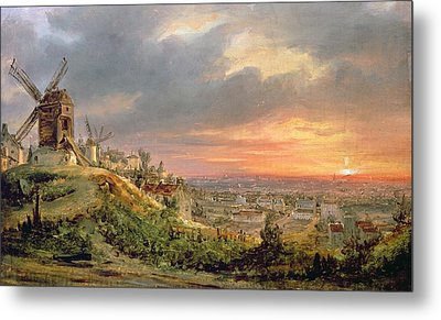 View Of The Butte Montmartre Metal Print by Louis Jacques Mande Daguerre