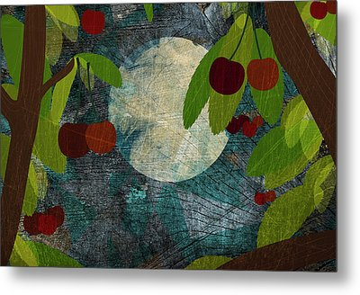 View Of The Moon And Cherries Growing On Trees At Night Metal Print