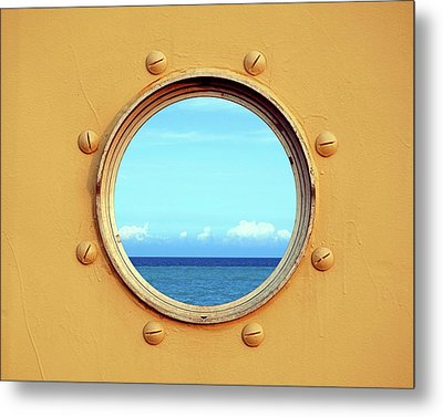 View Of The Ocean Through A Porthole Metal Print by Yali Shi