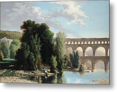 View Of The Pont Du Gard Metal Print by Henri Marie Poinsot