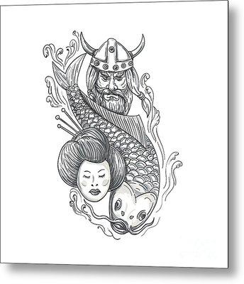Viking Carp Geisha Head Tattoo Metal Print by Aloysius Patrimonio