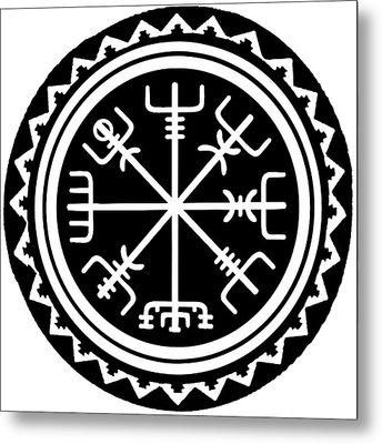 Metal Print featuring the digital art Viking Vegvisir Compass by Vagabond Folk Art - Virginia Vivier