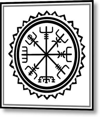 Metal Print featuring the digital art Viking Vegvisir Protection Compass by Vagabond Folk Art - Virginia Vivier