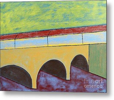 Village And Bridge Metal Print