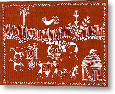 Village Scene In Warli Tribal Art Metal Print by Jey Manokaran
