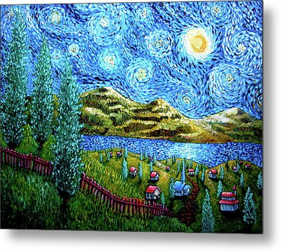 Village Under The Stars Metal Print