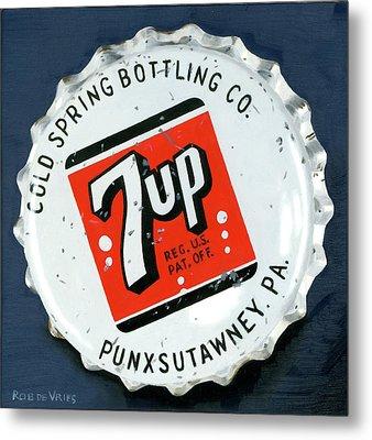 Vintag Bottle Cap, 7up Metal Print by Rob De Vries