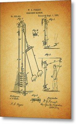 Vintage 1885 Exercising Device Patent Metal Print