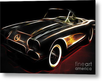 Vintage 1956 Corvette Metal Print by Wingsdomain Art and Photography