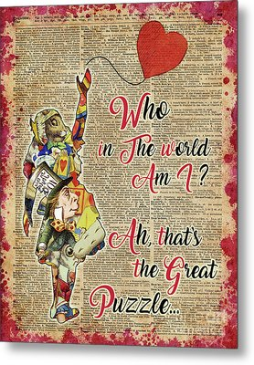 Vintage Alice In Wonderland Collage Who In The World Am I Quote Metal Print