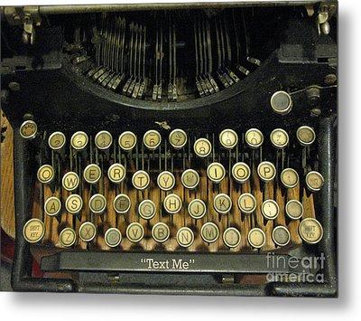 Vintage Antique Typewriter - Text Me - Antique Typewriter Keys Print Black And Gold Metal Print by Kathy Fornal