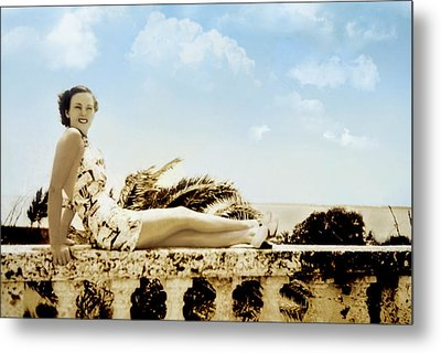 Vintage Beach Beauty Metal Print