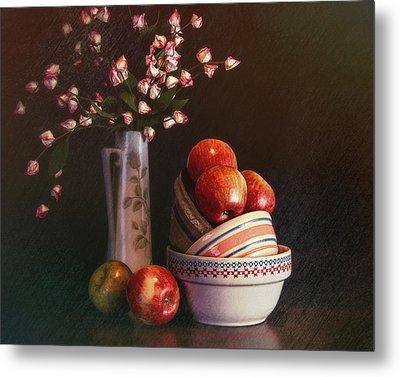 Vintage Bowls With Apples Metal Print
