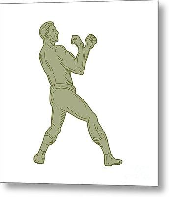 Vintage Boxer Fighting Stance Mono Line Metal Print by Aloysius Patrimonio