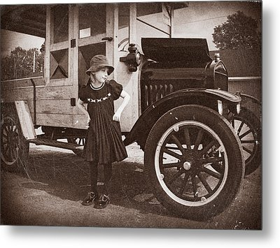 Vintage Car And Old Fashioned Girl Metal Print by Shawna Mac