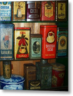 Vintage Cocoa Containers Metal Print by Turtle Caps
