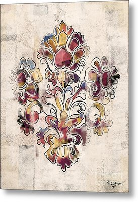 Metal Print featuring the mixed media Vintage Fleur by Carrie Joy Byrnes