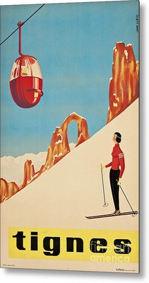 Vintage French Skiing Metal Print by Mindy Sommers