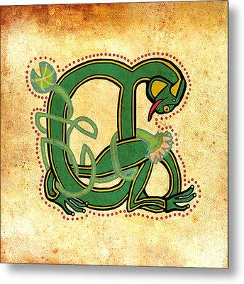 Vintage Frog Letter A Metal Print